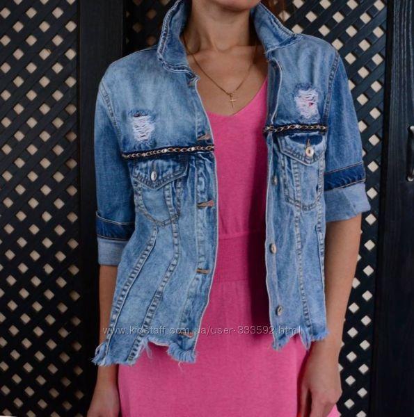 Женская джинсовая куртка прямого кроя с необработанным низом, Италия, скидк