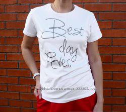 Белая футболка женская с надписью, Италия, скидка