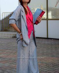 Стильный женский брючный костюм в полоску в пижамном стиле, Италия, скидка