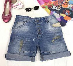 Женские джинсовые шорты, длинные, с отворотами, Италия, скидка