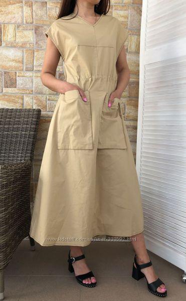 Женское платье миди в стиле сафари, Италия, скидка