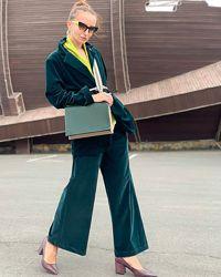 Женский брючный вельветовый костюм зеленого цвета, Италия, скидка