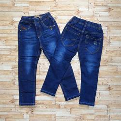 Утеплённые джинсы на флисе для мальчика, р. 116 и 140