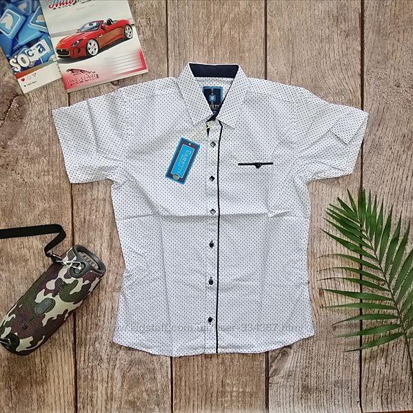 Белая рубашка с коротким рукавом для мальчика 10 и 12 лет на 140-152 см