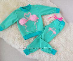 Костюм для девочки Фламинго с меховыми бубонами. Размер 52, 56, 60, 62, 64