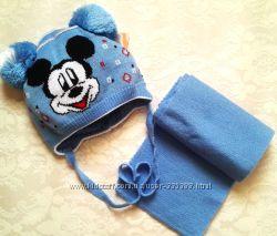 Комплект шапка и шарф Микки для мальчика на 1-3 года, вязка, весна. В налич