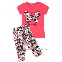 Летний комплект футболка и трессы для девочки. Acar kids бабочка. Турция