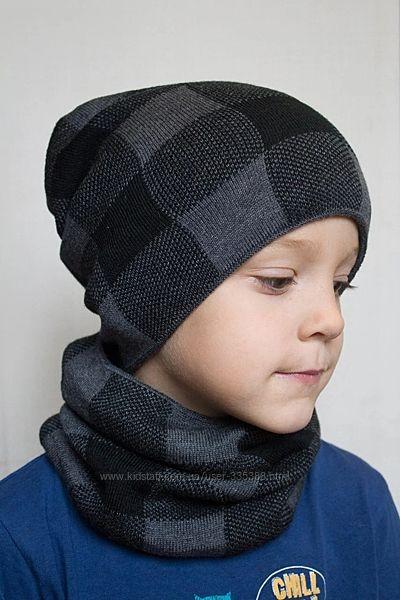 Зимний Комплект шапка и хомут на флисе. Размер 54-56 см, 7-15 лет. Новый, с