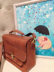 Кожанная сумка-портфель, ручная работа