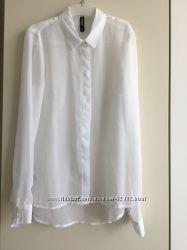 Новая Эффектная белоснежная шифоновая блуза