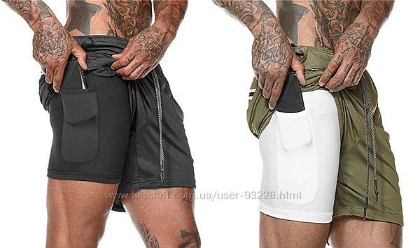 Спортивные шорты 2 в 1, с тайтсами и скрытым карманом для телефона 4 цвета.