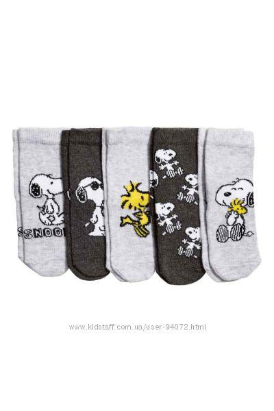 H&M Комплект из 5 пар носочков со Снупи размеры 13-18 в наличии