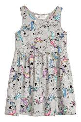 H&M Платьица серии Unicorn для девочек 1-10 лет в наличии