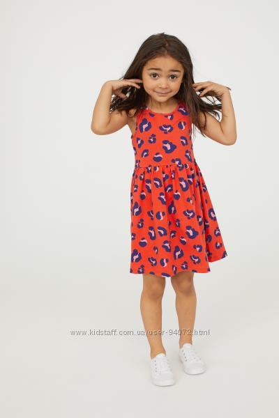 H&M Платьица яркого красного цвета для девочек 2-10 лет в наличии