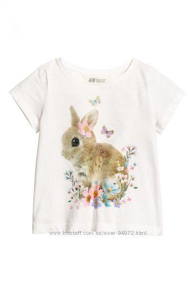 H&M Футболочки с кроликом для девочек 6-8 лет в наличии