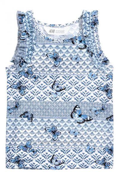 H&M Маечки бело-синего цвета с рюшами для 2-6 лет в наличии