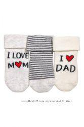 H&M Комплект из 3-х пар теплых махровых носочков размер 10-15 в наличии