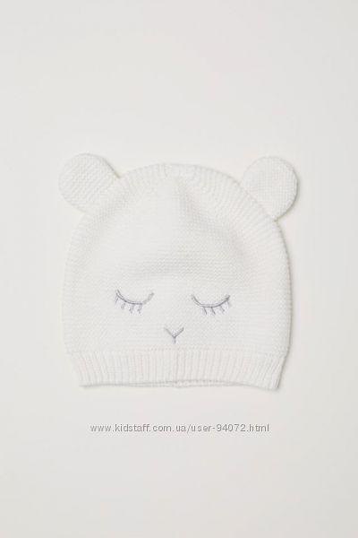 H&M Классная вязаная шапочка с ушками размер 86-92 в наличии