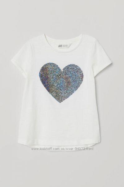 H&M Суперская футболочка с пайетками перевертышами для 4-6 лет