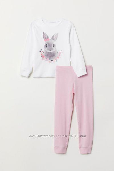 H&M Пижамка с милым кроликом для девочки 4-6 лет в наличии