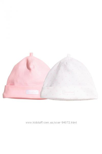H&M Комплект шапочек для девочки размер 68 в наличии