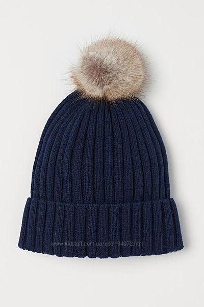 H&M Отличная вязанная шапочка с помпоном для 1-2 годика