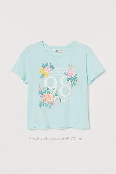 H&M Хлопковая футболка для 8-14 лет