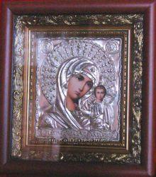 Посеребренная венчальная пара иконы Казанская Божья Матерь и Спаситель
