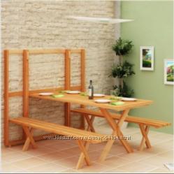 Деревянный стол с лавочками складывающийся