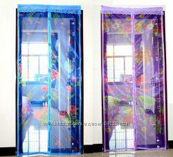 Антимоскитная сетка - штора на дверь на магнитах с рисунком