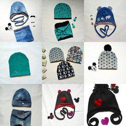 шапка снуд комплект трикотаж для мальчиков, евро зима, зима