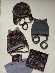 Шапочки с хомутом и манишкой, шапочки за завязках