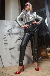 Кожаные полуоблегающие брюки 44-52