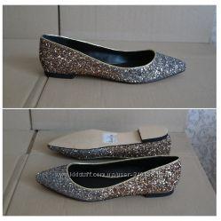 Шикарные блестящие туфельки балетки золото серебро Kurt Geiger