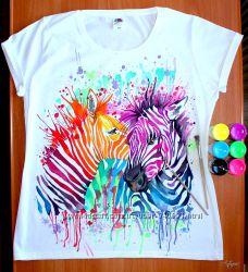 Сочные футболки ручная художественная роспись