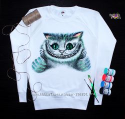 Крутой свитшот чеширский кот ручная роспись
