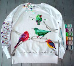 Эксклюзивный свитшот с птичками ручная роспись
