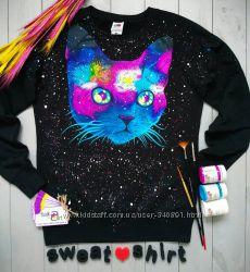 Свитшот космический кот ручная роспись