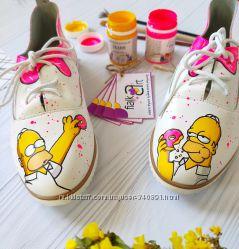 Кожаные кеды Simpsons ручная роспись