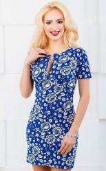 Нарядное платье мини с кокетливым вырезом Расцветки разные Распродажа