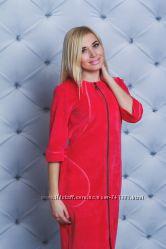 Женский велюровый халат длинный Турецкий велюр Разные расцветки и размеры