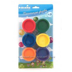 Краски пальчиковые 4 и 6 цветов со штампами Идейка