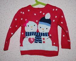 Новогодний свитер для девочки Mothercare 18-24 мес, р. 86-92