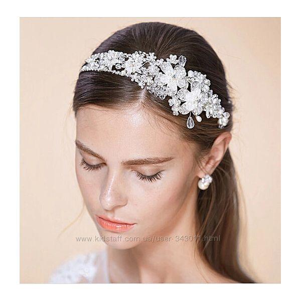 Свадебная диадема с кристаллами Swarovski и жемчугом. Свадебные украшения.