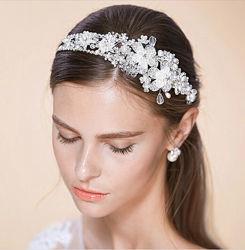 Хрустальная свадебная диадема с кристаллами Swarovski. Свадебная бижутерия.