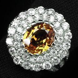 Кольцо 925 натуральный морганит, сапфир.