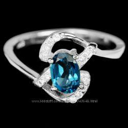 Кольцо серебряное 925 натуральный ААА лондон топаз, цирконий.