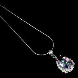 Колье серебряное 925 натуральный ААА мистик кварц, цирконий.