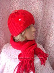 комплект Шапка Шарф красного цвета Sedona