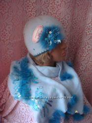 комплект Шапка Шарф серо-голубого цвета